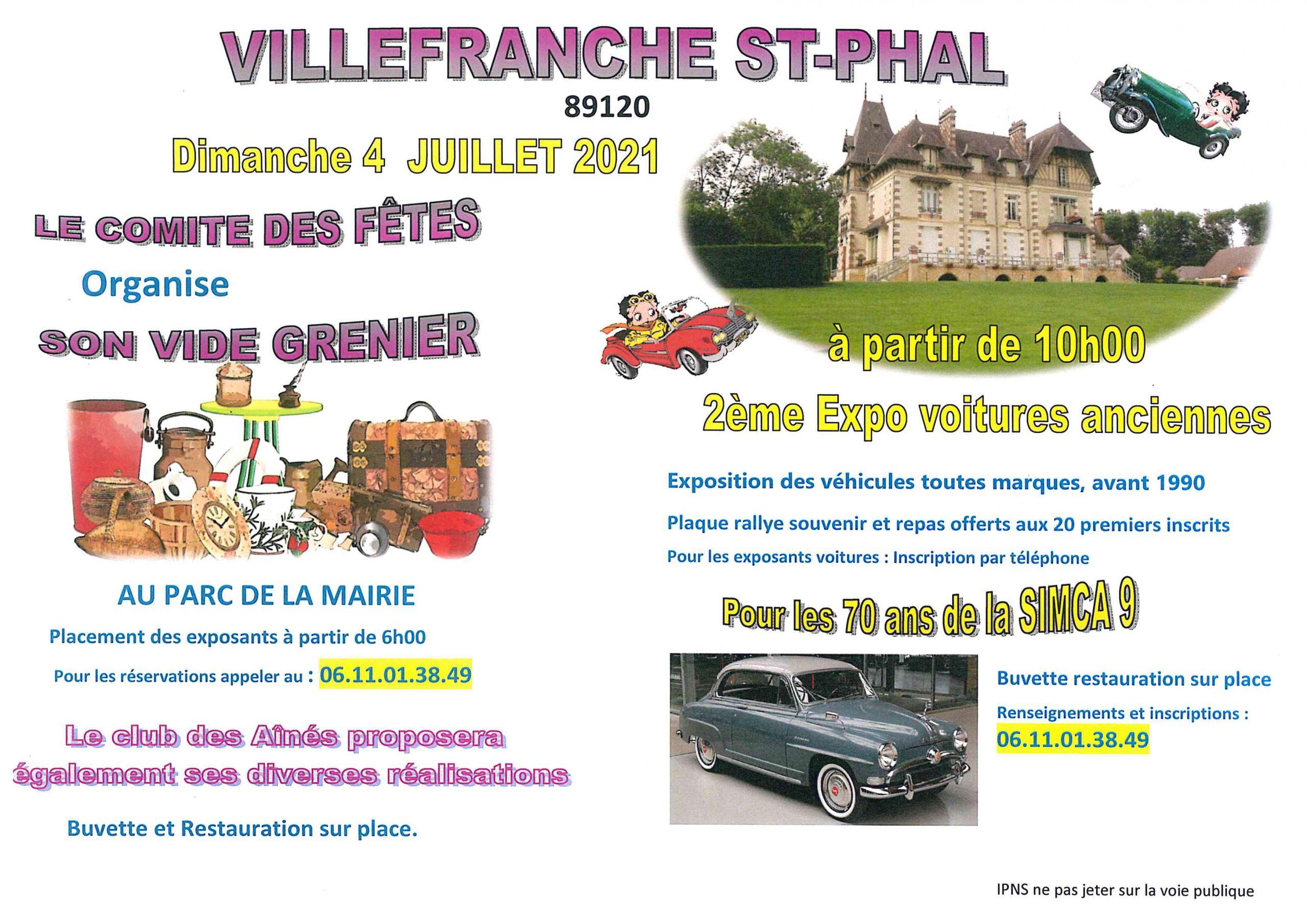 Villefranche Vide grenier et Expo de voitures anciennes dimanche 4 juillet 2021